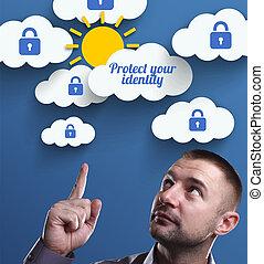 proteger, marketing., tecnología, pensamiento, about:, joven, empresa / negocio, internet, hombre de negocios, su, identidad