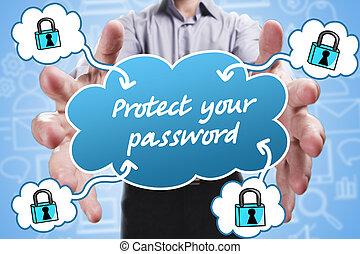 proteger, marketing., tecnología, pensamiento, about:, joven, empresa / negocio, internet, hombre de negocios, contraseña, su