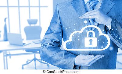 proteger, nube, información, datos, concept., seguridad, y,...