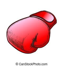proteger, sportwear, guante, vector, color, boxeo