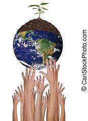 proteggendo ambiente, insieme, è, possibile