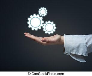 proteggere, concetto, affari, meccanismo