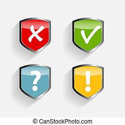 proteggere, scudo, set, vettore, illustrazione