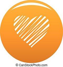 protegidode la luz, corazón, icono, vector, naranja