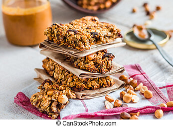 protein bars granola with seeds, peanut butter and dried ...