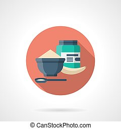 Protein breakfast detailed flat color vector icon
