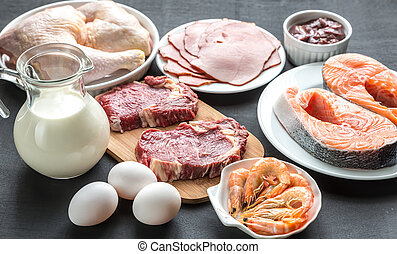 Protein diet: raw products on the wooden background