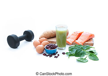 Protein foods and dumbell - Protein rich foods including...