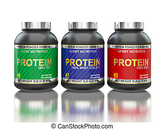 Protein jars isolated on white with reflection - Sport...