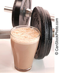 Protein - Fitness drink with heavy weights...