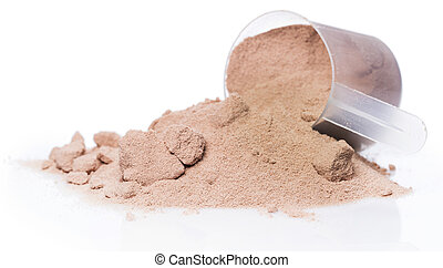 Protein powder and scoop - Whey protein powder and scoop