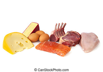Foods rich in protein, including cheese, eggs, fish, lamb, beef and chicken. Nutritious eating.