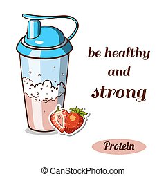 Protein Shaker Strawberry - Sport nutrition. Protein shaker...