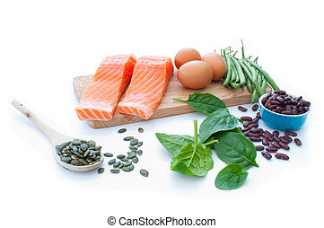 Protein superfood diet - Protein rich foods including eggs,...