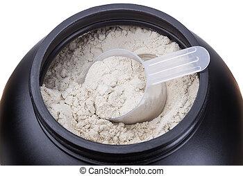 protein., whey, récipient, lait, close-up.