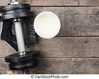 proteine verwiken, met, dumbbell, hoogste mening