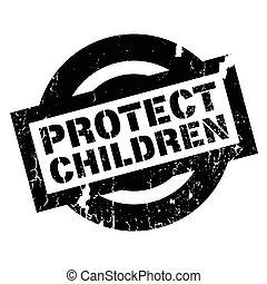 proteja, crianças, selo borracha