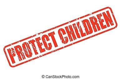 proteja, crianças, vermelho, selo, texto