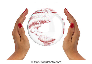 proteja, dados, globo, conceito