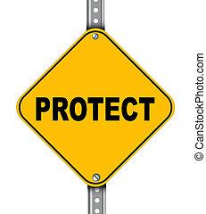 proteja, estrada amarela, sinal