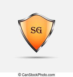 proteja, laranja, escudo, branco, experiência.