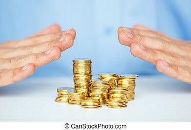 proteja, novo negócio, start-up, com, mãos, e, moeda