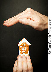 proteja, seu, casa, seguro, e, proteção, conceito