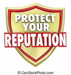 proteja, seu, reputação, escudo, palavras