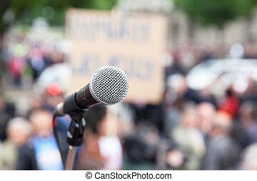 protest., öffentlichkeit, demonstration., microphone.