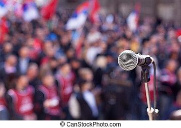 protest., 公眾, demonstration.