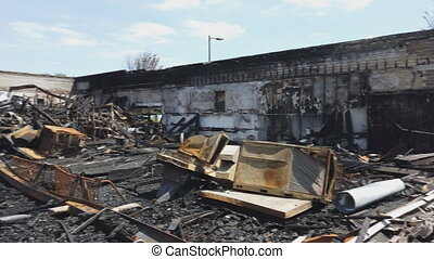 Protest and riots house burning damaged were destroyed ...