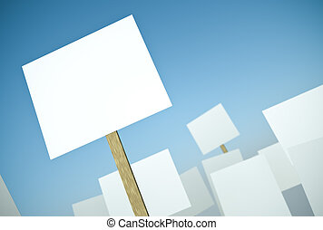 Protest - Blank protest banners against blue sky. 3D render.