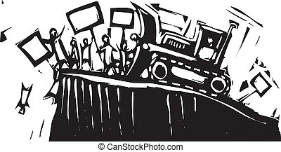 Protest Bulldozer - Protest being pushed off cliff by...