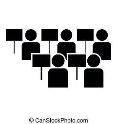 Protest concept Demonstration Crowd of protesters people Revolution idea Social problem icon black color illustration