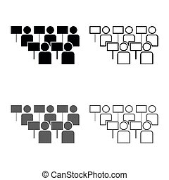 Protest concept Demonstration Crowd of protesters people Revolution idea Social problem icon set grey black color illustration outline flat style simple image