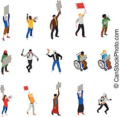 Protest Demonstration People Isometric Icons Set