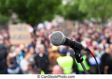 protest., demonstration., politique, public, microphone.