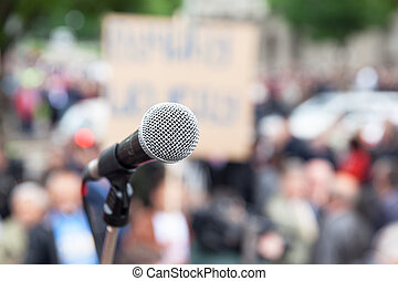 protest., demonstration., public, microphone.