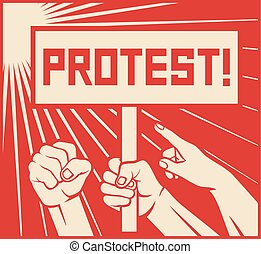 protest design - lots of furious people (man holding...