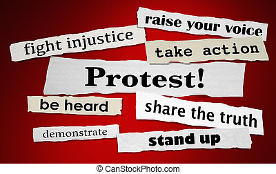 Protest Fight Injustice Stand Up for Rights Headlines 3d...