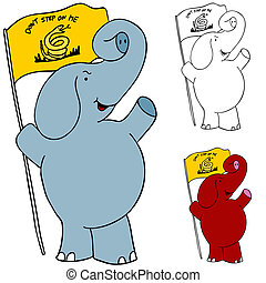 Protest Flag Elephant - An image of a protesting elephant...