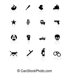 Protest icons black on white with reflection.