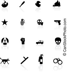 Protest icons isolated on white