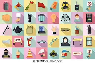 Protest icons set, flat style