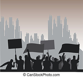 Protest - Illustration of a group of angry protesters.