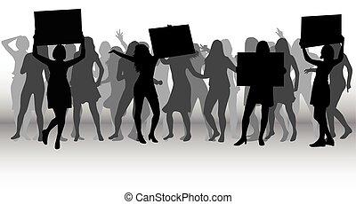 protest, ludzie, tłum, silhouette.