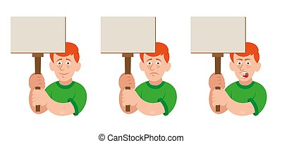 Protest man - Set flat cartoon characters white redhead man ...