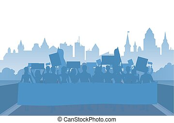 Protest people crowd silhouette on flat modern coty vector background landscape demonstration concept