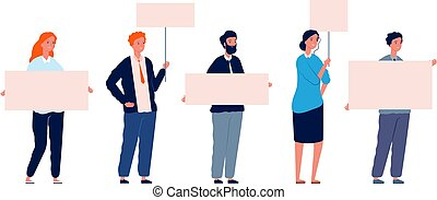 Protest people. Demonstration woman man with placards. Isolated flat characters holding banners vector illustration