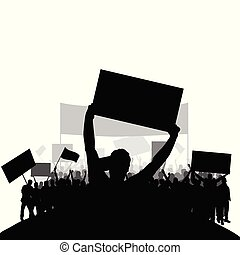protest people silhouette vector with group in the back set two